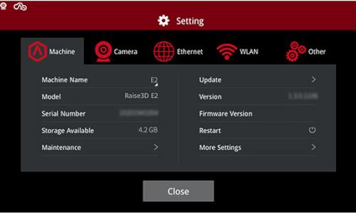 Drukarka 3D Raise3D E2 kontrola ustawień
